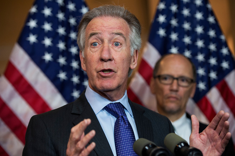 UNITED STATES - APRIL 28: Rep. Richard Neal, D-Mass., left, and Labor Secretary Thomas Perez attend a news conference in Capitol Visitor Center on the fiduciary rule which is meant to help Americans save for retirement, April 28, 2016. (Photo By Tom Williams/CQ Roll Call)