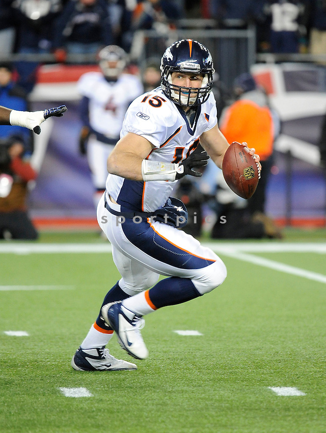 TIM TEBOW, of the Denver Broncos, in action during the Broncos game against the New England Patriots on January 14, 2012 at Gillette Stadium in Foxborough, MA. The Patriots beat the Broncos 45-10.