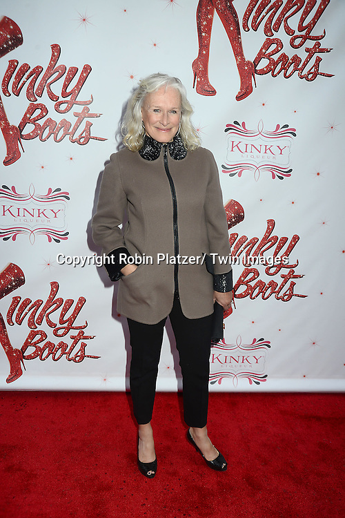 "Glenn Close arrives at the ""Kinky Boots"" Broadway Opening on April 4, 2013 at The Al Hirschfeld Theatre in New York City. Harvey Fierstein wrote is the Book Writer and Cnydi Lauper is the Composer."