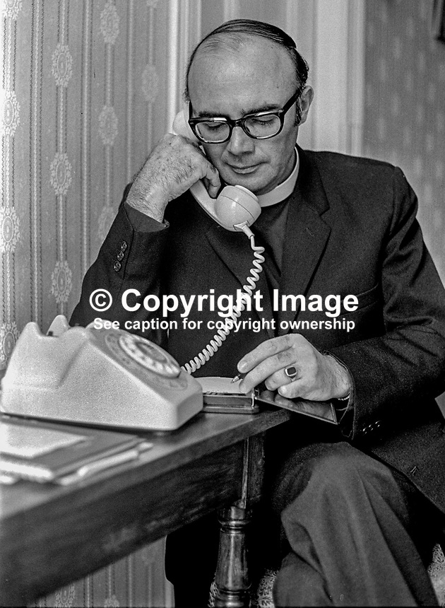 Canon William Arlow, Church of Ireland clergman, who, along with other Protestant churchmen, met 6 members of the Provisional IRA army council in Feakle, Co Clare, in an attempt to secure a permanent ceasefire. Arlow is picture in the garden of his Belfast home in May 1975. 197505260523WA4..Copyright Image from Victor Patterson, 54 Dorchester Park, Belfast, UK, BT9 6RJ..Tel: +44 28 9066 1296.Mob: +44 7802 353836.Voicemail +44 20 8816 7153.Skype: victorpattersonbelfast.Email: victorpatterson@mac.com.Email: victorpatterson@ireland.com (back-up)..IMPORTANT: If you wish to use this image or any other of my images please go to www.victorpatterson.com and click on the Terms & Conditions. Then contact me by email or phone with the reference number(s) of the image(s) concerned.