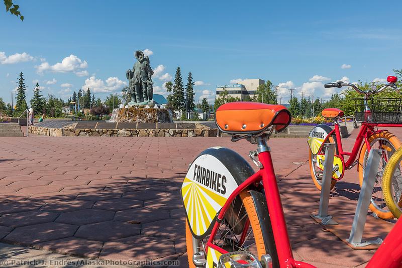 Renatl bicyles in the Golden Heart Plaza in Downtown Fairbanks, Alaska