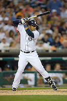 Carlos Guillen #9 of the Detroit Tigers at bat versus the New York Yankees at Comerica Park April 27, 2009 in Detroit, Michigan.  Photo by Brian Westerholt / Four Seam Images