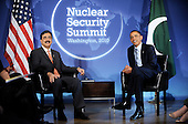 United States President Barack Obama holds bilateral meeting with Prime Minister Syed Yousaf Raza Gilani of Pakistan at the Blair House during the Nuclear Security Summit, Sunday, April 11, 2010 in Washington, DC. .Credit: Olivier Douliery / Pool via CNP