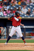Toledo Mud Hens Dawel Lugo (34) bats during an International League game against the Durham Bulls on July 16, 2019 at Fifth Third Field in Toledo, Ohio.  Durham defeated Toledo 7-1.  (Mike Janes/Four Seam Images)