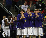 Northern Iowa players applauds their victory over Wyoming in the 2015 NCAA Division I Men's Basketball Championship March 20, 2015 at the Key Arena in Seattle, Washington.   Northern Iowa beat Wyoming 71 to 54.   ©2015.  Jim Bryant Photo. All Rights Reserved.