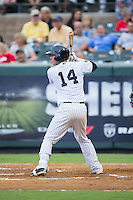 Victor Rey (14) of the Pulaski Yankees at bat against the Elizabethton Twins at Calfee Park on July 25, 2016 in Pulaski, Virginia.  The Twins defeated the Yankees 6-1.  (Brian Westerholt/Four Seam Images)