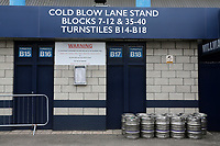 The turnstiles are not in use at the Cold Blow Lane end during Millwall vs Swansea City, Sky Bet EFL Championship Football at The Den on 30th June 2020