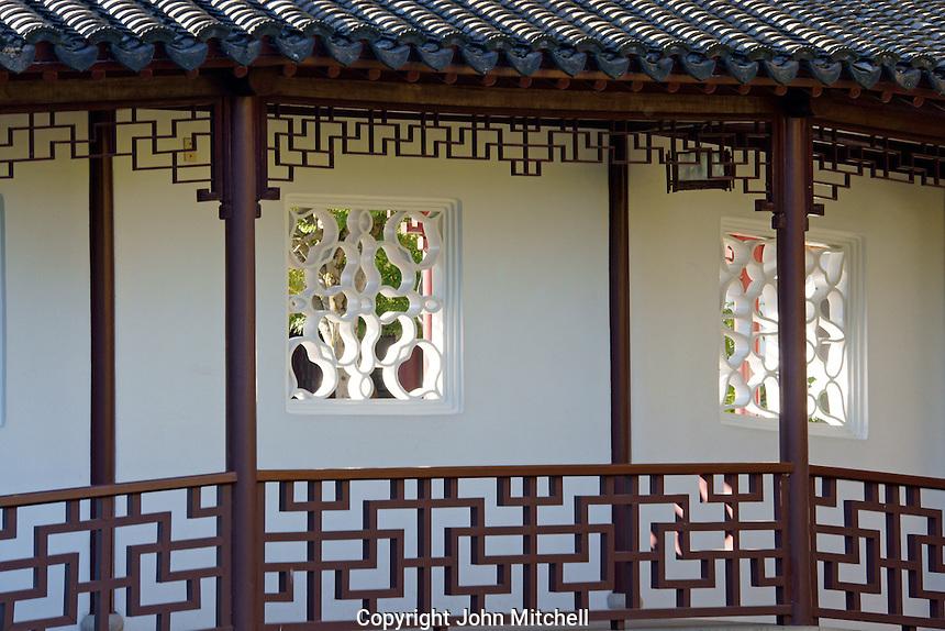 Walkway in Dr Sun Yat-Sen Classical Chinese Garden, Chinatown, Vancouver, British Columbia, Canada.
