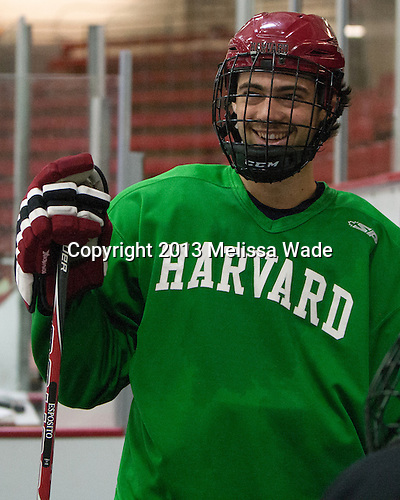 Luke Esposito (Harvard - 9) - The Harvard University Crimson practiced on Friday, October 22, 2013, at Bright-Landry Hockey Center in Cambridge, Massachusetts.
