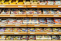 Selection of energy bars in a health food store.