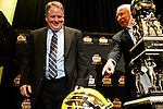 "010213--Kansas State Head Coach Bill Snyder asks Oregon Ducks Head Coach Chip Kelly if that is the helmet the Ducks will be wearing for the Fiesta Bowl during a press conference at the Camelback Inn in Scottsdale, Arizona. Kelly responded by saying ""You never know."".Photo by Jaime Valdez"