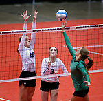 November 22, 2019; Rapid City, SD, USA; Sydney Tims #13 and Abby Glanzer #3 of Sioux Falls Christian defend against Miller at the 2019 South Dakota State Volleyball Championships at the Rushmore Plaza Civic Center in Rapid City, S.D. (Richard Carlson/Inertia)