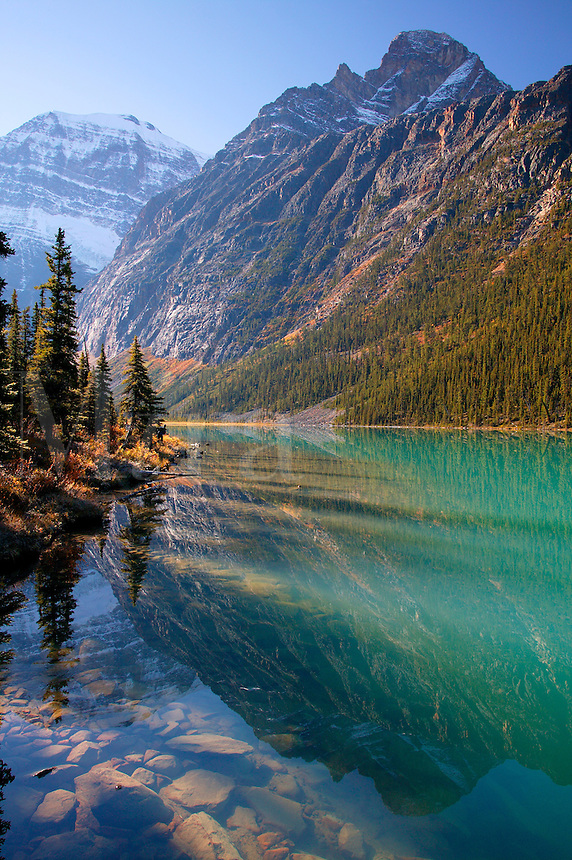 Mt. Edith Cavell and Cavell Lake, Jasper National Park, Alberta, Canada.