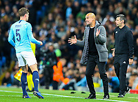 Manchester City manager Josep Guardiola shouts instructions to his team from the technical area<br /> <br /> Photographer Alex Dodd/CameraSport<br /> <br /> UEFA Champions League Group F - Manchester City v Shakhtar Donetsk - Wednesday 7th November 2018 - City of Manchester Stadium - Manchester<br />  <br /> World Copyright © 2018 CameraSport. All rights reserved. 43 Linden Ave. Countesthorpe. Leicester. England. LE8 5PG - Tel: +44 (0) 116 277 4147 - admin@camerasport.com - www.camerasport.com
