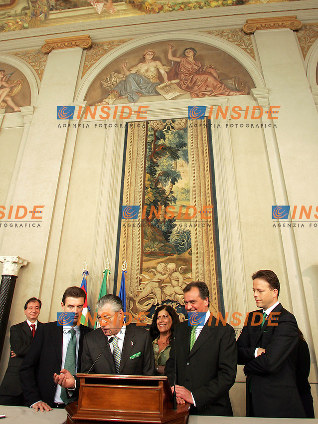 Roma 2008-05-06 Quirinale: Secondo Giorno di Consultazioni.Lega Nord, Coita, Bossi, Mauro, Calderoli, Bricolo.Photo Serena Cremaschi Insidefoto
