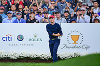 Jordan Spieth (USA)  watches his tee shot on 4 during round 3 Four-Ball of the 2017 President's Cup, Liberty National Golf Club, Jersey City, New Jersey, USA. 9/30/2017.<br /> Picture: Golffile | Ken Murray<br /> <br /> All photo usage must carry mandatory copyright credit (&copy; Golffile | Ken Murray)