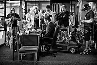 """Director John Gray and actor Mark-Paul Gosselaar with the camera crew about to shoot a scene on the set of TNT's """"Hide"""" in New Orleans, LA."""