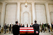 Staff of the United States Supreme Court attend a private visitation in the Great Hall of the US Supreme Court where late Supreme Court Justice Antonin Scalia lies in repose in Washington, DC on Friday, February 19, 2016. <br /> Credit: Jacquelyn Martin / Pool via CNP