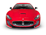 2015 Red Maserati GranTurismo MC Centennial Edition luxury car front view. Isolated on white background with clipping path.