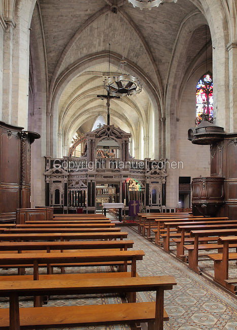 Nave and rood screen, 1616, from where the Gospel and the Epistles are preached, donated by Marie de Gonzague of the Guise Lorraine family, between the nave and the chancel of the Basilica of Liesse Notre Dame, built 1134 in Flamboyant Gothic style by the Chevaliers d'Eppes, then rebuilt in 1384 and enlarged in 1480 and again in the 19th century, Liesse-Notre-Dame, Laon, Picardy, France. Pilgrims flock here to worship the Black Virgin, based on Ismeria, the Soudanese daughter of the sultan of Cairo El-Afdhal, who saved the lives of French knights during the Crusades, converted to christianity and married Robert d'Eppes, son of Guillaume II of France. Picture by Manuel Cohen