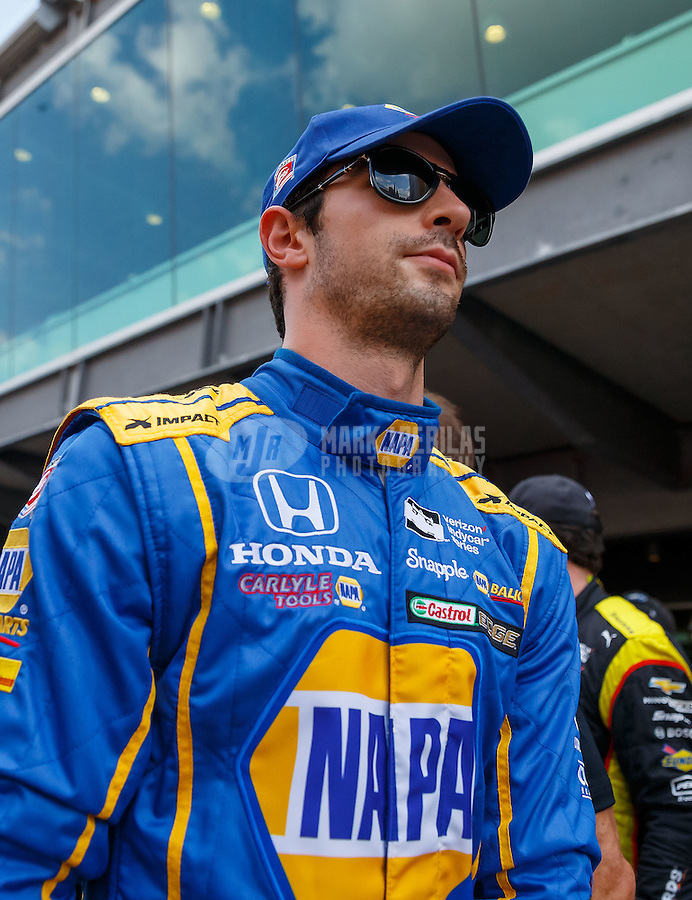 May 29, 2016; Indianapolis, IN, USA; IndyCar Series driver Alexander Rossi prior to the 100th running of the Indianapolis 500 at Indianapolis Motor Speedway. Mandatory Credit: Mark J. Rebilas-USA TODAY Sports