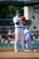 Augusta GreenJackets starting pitcher Jake Wong (23) during a South Atlantic League game against the Lexington Legends on April 30, 2019 at SRP Park in Augusta, Georgia.  Augusta defeated Lexington 5-1.  (Mike Janes/Four Seam Images)