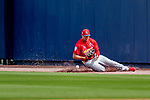 26 February 2019: St. Louis Cardinals outfielder Dylan Carlson is unable to come up with the ball on a fly to right during a Spring Training game against the Washington Nationals at the Ballpark of the Palm Beaches in West Palm Beach, Florida. The Cardinals defeated the Nationals 6-1 in Grapefruit League play. Mandatory Credit: Ed Wolfstein Photo *** RAW (NEF) Image File Available ***