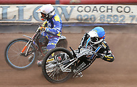 Heat 10: George Hunter (blue) slips off inside Connor Coles (white)<br /> <br /> Photographer Rob Newell/CameraSport<br /> <br /> National League Speedway - Lakeside Hammers v Eastbourne Eagles - Lee Richardson Memorial Trophy, First Leg - Friday 14th April 2017 - The Arena Essex Raceway - Thurrock, Essex<br /> &copy; CameraSport - 43 Linden Ave. Countesthorpe. Leicester. England. LE8 5PG - Tel: +44 (0) 116 277 4147 - admin@camerasport.com - www.camerasport.com