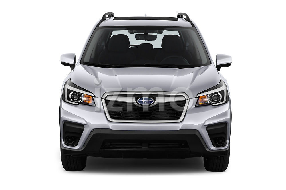 Car photography straight front view of a 2019 Subaru Forester Premium 5 Door Wagon