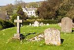 Churchyard of Saint Within, village houses, Compton Bassett, Wiltshire, England, UK