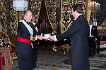 13.06.2012. King Juan Carlos I of Spain attens presentation of Credentials at the Royal Palace of Madrid with the Mr. Emmanuelle Restelli, Ambassador of the Republic of San Marino. In the image King Juan Carlos I of Spain and Emmanuelle Restelli (Alterphotos/Marta Gonzalez)