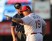 July 29, 2009: Manager Kevin Boles (17) of the Greenville Drive, Class A affiliate of the Boston Red Sox, agues with umpire Chris Graham in a game at Fluor Field at the West End in Greenville, S.C. Photo by: Tom Priddy/Four Seam Images