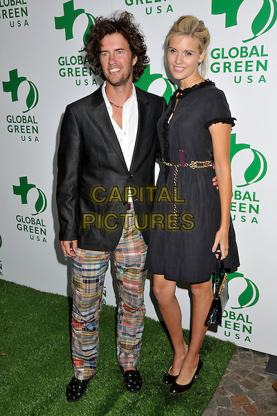 BLAKE MYCOSKIE & MAGGIE GRACE.Global Green USA 13th Annual Millennium Awards held at the Fairmont Miramar Hotel, Santa Monica, CA, USA..May 30th, 2009.full length black dress gold chain belt suit jacket trousers multi-coloured colored pattern.CAP/ADM/BP.©Byron Purvis/AdMedia/Capital Pictures.