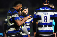 Guy Mercer of Bath Rugby rallies his forwards during a break in play. Anglo-Welsh Cup match, between Bath Rugby and Gloucester Rugby on January 27, 2017 at the Recreation Ground in Bath, England. Photo by: Patrick Khachfe / Onside Images