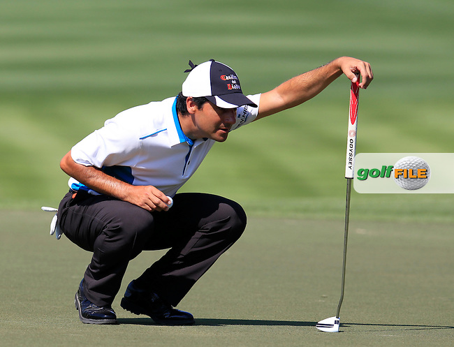 Felipe AGUILAR (CHI) on the 10th green during Thursday's Round 1 of the 2015 Omega Dubai Desert Classic held at the Emirates Golf Club, Dubai, UAE.: Picture Eoin Clarke, www.golffile.ie: 1/29/2015