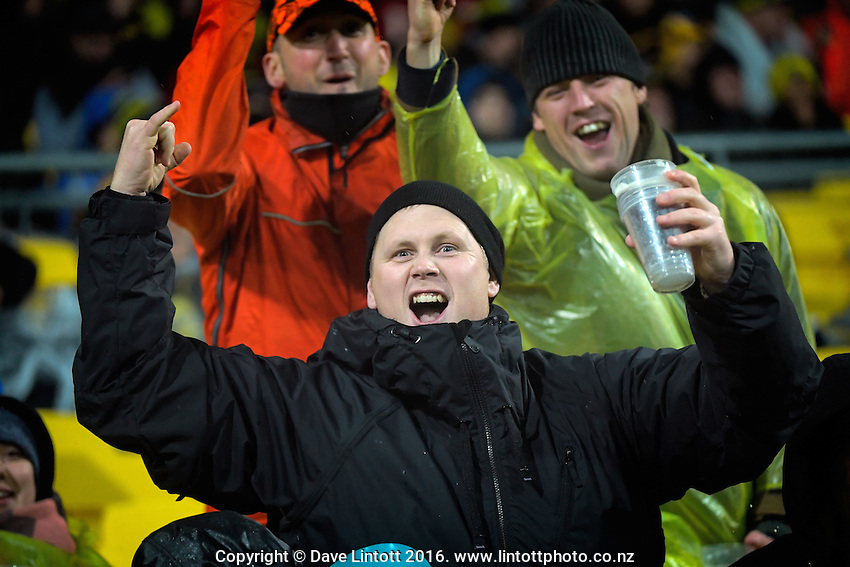 Fans celebrate during the Super Rugby quarterfinal match between the Hurricanes and Sharks at Westpac Stadium, Wellington, New Zealand on Saturday, 23 July 2016. Photo: Dave Lintott / lintottphoto.co.nz