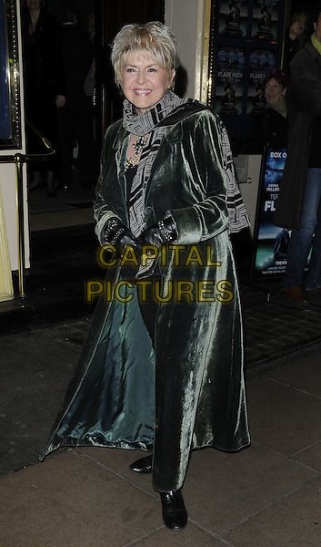 GLORIA HUNNIFORD.Gala Preview of 'Flare Path' at Theatre Royal on in London, England..March 10th, 2011.full length black grey gray print scarf smiling long green velvet leather gloves .CAP/CAN.©Can Nguyen/Capital Pictures.