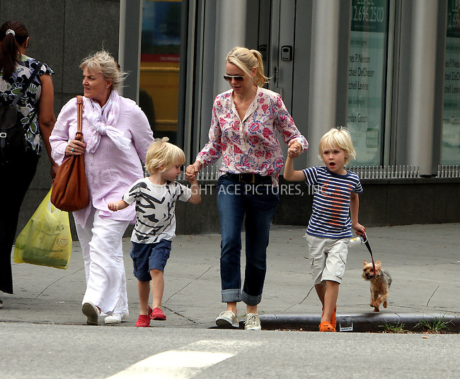 WWW.ACEPIXS.COM....September 6 2012, New York City....Actress Naomi Watts walks in her neigborhood with her mother Miv Watts and her two sons Sammy and Sasha on September 6 2012 in New York City....By Line: Zelig Shaul/ACE Pictures......ACE Pictures, Inc...tel: 646 769 0430..Email: info@acepixs.com..www.acepixs.com