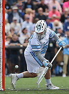Baltimore, MD - April 28, 2018: Johns Hopkins Blue Jays Brock Turnbaugh (29) tries to make a save during game between John Hopkins and Maryland at  Homewood Field in Baltimore, MD.  (Photo by Elliott Brown/Media Images International)