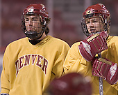 Gabe Gauthier, J.D. Corbin - Reigning national champions (2004 and 2005) University of Denver Pioneers practice on Friday morning, December 30, 2005 before hosting the Denver Cup at Magness Arena in Denver, CO.