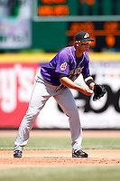 May 31, 2009:  Shortstop Carlos Rivero of the Akron Aeros in the field during a game at Jerry Uht Park in Erie, NY.  The Aeros are the Eastern League Double-A affiliate of the Cleveland Indians.  Photo by:  Mike Janes/Four Seam Images