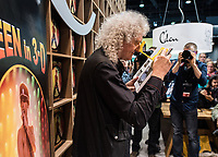 "Guitarrist Brian May of Queen presenting his new book ""Queen in 3D"" in Frankfurt am Main, Germany, 12 October 2017. The book tells the story of Queen with photos and it is the first official book of the band published by a band member. The Frankfurt Book Fair takes place between 11 and 15 October 2017. Photo: Andreas Arnold/dpa/MediaPunch ***FOR USA ONLY***"