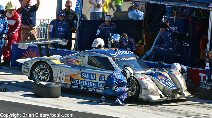 30 January 2011: The #10 Chevrolet Dallara of Wayne Taylor, Ricky Taylor, Max Angelelli, and Ryan Briscoe makes a pit stop, Rolex 24 at Daytona, Daytona International Speedway, Daytona Beach, FL (Photo by Brian Cleary/www.bcpix.com)