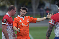Referee Nick Hogan during the preseason provincial rugby match between Horowhenua Kapiti and Wellington at Levin Domain in Levin, New Zealand on Monday, 4 May 2018. Photo: Dave Lintott / lintottphoto.co.nz