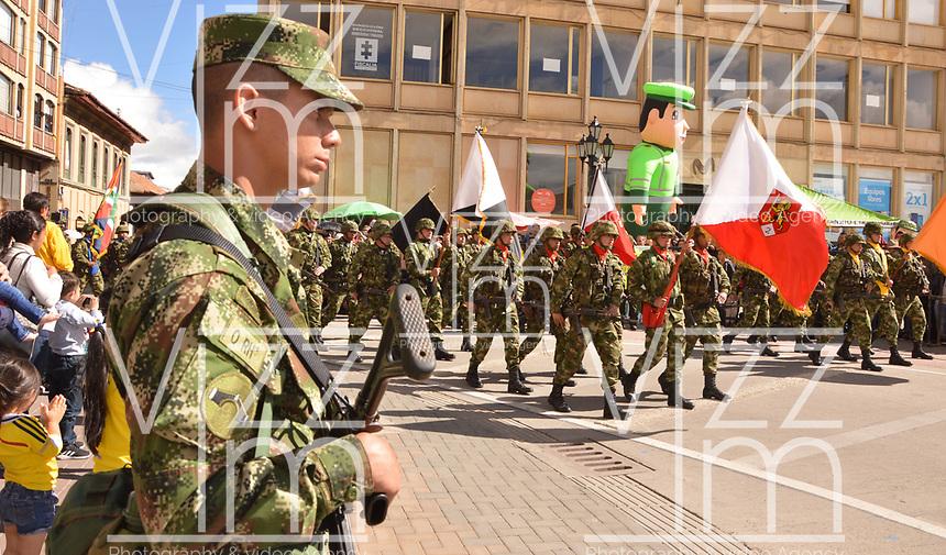 TUNJA- COLOMBIA, 20-07-2019:Desfile militar en  la ciudad de Tunja. /<br /> Military Parade in Tunta city. Photo: VizzorImage / José Miguel Palencia / Contribuidor