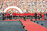 The Wales National Anthem is played at the final of the homecoming celebrations at the Cardiff City stadium on Friday 8th July 2016 for the Euro 2016 Wales International football squad.<br /> <br /> <br /> Jeff Thomas Photography -  www.jaypics.photoshelter.com - <br /> e-mail swansea1001@hotmail.co.uk -<br /> Mob: 07837 386244 -