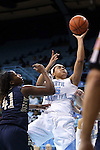 02 January 2015: North Carolina's Allisha Gray (15) shoots over ETSU's Destiny Mitchell (41). The University of North Carolina Tar Heels hosted the East Tennessee State University Buccaneers at Carmichael Arena in Chapel Hill, North Carolina in a 2014-15 NCAA Division I Women's Basketball game. UNC won the game 95-62.