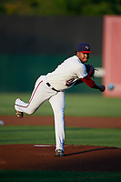 Auburn Doubledays starting pitcher Luis Reyes (1) delivers a pitch during a game against the Hudson Valley Renegades on September 5, 2018 at Falcon Park in Auburn, New York.  Hudson Valley defeated Auburn 11-5.  (Mike Janes/Four Seam Images)