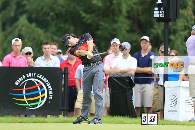 Rory McIlroy (NIR) tees off the 4th tee during Saturday's Round 3 of the 2013 Bridgestone Invitational WGC tournament held at the Firestone Country Club, Akron, Ohio. 3rd August 2013.<br /> Picture: Eoin Clarke www.golffile.ie