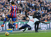 5th November 2017, Wembley Stadium, London England; EPL Premier League football, Tottenham Hotspur versus Crystal Palace; Davinson Sanchez of Tottenham Hotspur with a diving tackle towards Yohan Cabaye of Crystal Palace